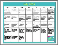 FREE Download: July 2012 Summer Fun Activity Calendars for Kids (2 Variations)