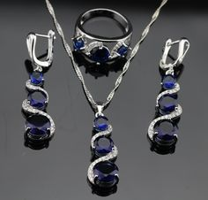 Trendy Blue Tanzanite Sapphire Jewelry Sets For Women Engagement Sterling Silver Necklace Pendant Earrings Rings Size 7 8 9-in Jewelry Sets from Jewelry on Aliexpress.com | Alibaba Group
