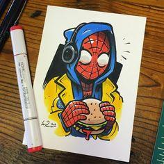 marvel drawings My boyfriend! Take Spiderman for l - marvel Cartoon Kunst, Comic Kunst, Comic Art, Marvel Drawings, Cartoon Drawings, Cute Drawings, Spiderman Kunst, Spiderman Drawing, Spiderman Spiderman