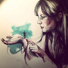 Hombrecillo y nube - Paula Bonet