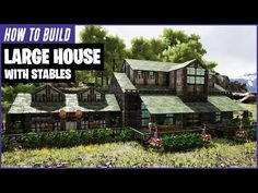 This video is a detailed tutorial for a large house it has 3 floors with 5 large rooms and 2 storage areas. It also has stables attached to the side for your. House With Stables, House In The Woods, Wooden Pillars, Stone Pillars, Wooden Window Frames, Wooden Doors, Ark Survival Evolved Tips, Ark Evolution, Game Ark