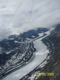 Frozen river from prop plane, Denali, Alaska