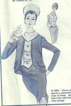 Vintage Modes Royale Suit Pattern E2081 Uncut by Abbysfabric, $18.00