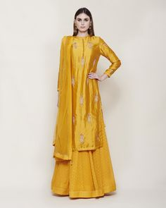 Buy Yellow Color Plazo Suit by Akanksha Singh at Fresh Look Fashion Yellow Wedding Dress, Yellow Dress, Dress Wedding, Kurta Lehenga, Dress Outfits, Prom Dresses, Dupion Silk, Yellow Fabric, Look Fashion