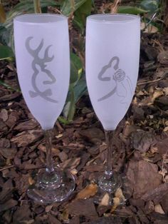 Browning Deer Bride and Groom Sandblast Frosted Wedding Champagne Flutes, Toasting Glasses. $18.99, via Etsy.