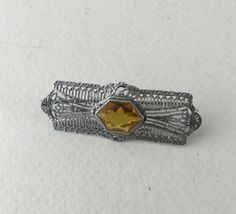 Art Deco Rhodium Brooch/Pin with Filigree & Citrine by ravished