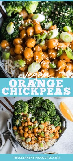 Vegan Orange Chicken is a delicious plant based dinner made with chickpeas! Gluten free, healthy, delicious and done in 30 minutes! Easily substitute tofu, soy curls, cauliflower or seitan - the sauce goes on everything! Healthy Gluten Free Recipes, Vegetarian Recipes Easy, Clean Eating Recipes, Lunch Recipes, Healthy Dinner Recipes, Healthy Chickpea Recipes, Citrus Recipes, Vegetarian Dish, Ww Recipes