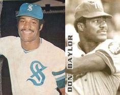 Par de imagenes de Don Baylor,con el Santurce de Puerto Rico en 1970 y con el Magallanes de Venezuela en 1974.
