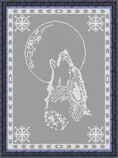 (4) Name: 'Crocheting : Filet Crochet Chart-Wolf