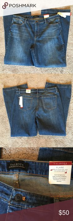"NWT Sz 14 Talbots Jeans Talbots Flawless Five Pocket Flare Jeans. New with tags. Slimming panel inside. My mom bought them and never wore them!! Inseam is about 31.5"". Waist is 19"" across laying flat. With about an additional 1.5"" of stretch! 11"" rise. Talbots Jeans Flare & Wide Leg"
