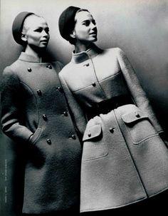 1967  Philippe Venet 60s 70s designer wool coat winter photo print ad models magazine vintage
