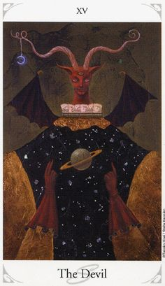 """the devil - A truly cosmic card in the Stellas Tarot deck is The Devil, namesake of the Korean Drama """"The Devil"""" in which it plays a starring role. In the murder-mystery noir series, Stellas Tarot provides clues to the acts of a serial killer."""