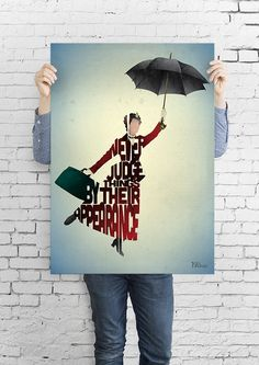 Mary Poppins typography art print poster based on a quote from the movie Mary Poppins. on Etsy, $5.29