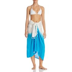 Echo Ombre Tassel Pareo Swim Cover-Up (£40) ❤ liked on Polyvore featuring swimwear, cover-ups, riveria blue, cover up beachwear, blue swimwear, echo cover up, echo swimwear and tassel cover up