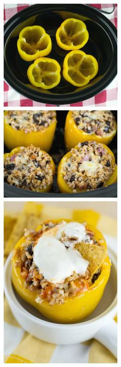 Vegetarian Crockpot Stuffed Peppers - w/ brown rice and black beans