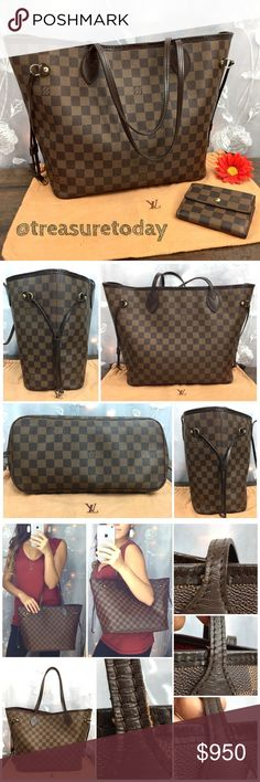 💋Louis Vuitton Neverfull MM Damier Ebene Tote Bag Timeless Louis Vuitton Neverfull MM in Damier Ebene. Used but in n good pre owned condition. Some wear on the handles and top trim- see pictures. Inside some stains. Interior zip pocket shows a little wear.  No major flaws, everything I mentioned is minor and the bag has lots of life left and still looks gorgeous 😍💋 No extras included. Feel free to ask any question, I'm here to help! 🎉Offers welcome 🎉 Bundle 2 or more items and get %10…