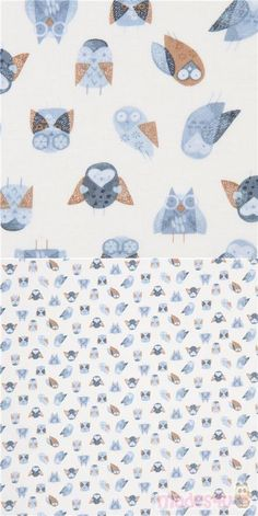 "white cotton fabric with owls in blue and brown, Material: 100% cotton, Fabric Type: smooth cotton fabric, Pattern Size: size of the biggest owl: ca. 2.5cm (1"") #Cotton #Animals #AnimalPrint #Owls #USAFabrics"