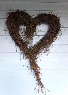Stort hjerte av hengebjørk – fleurs Grapevine Wreath, Primitive, Fall Winter, Autumn, Diy Home Decor, Diy And Crafts, Christmas Wreaths, Projects To Try, Holiday Decor