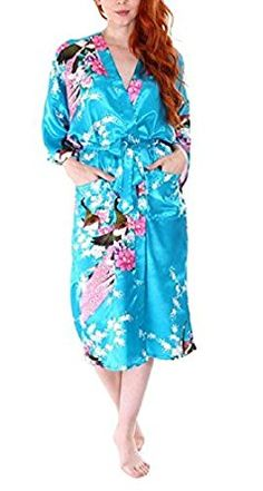SexyTown Women's Long Floral Peacock Kimono Robe Satin Nightwear With Pockets Small Turquoise at Amazon Women's Clothing store: