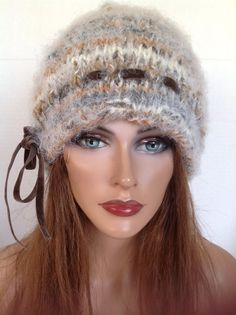 Beanie Slouch Hat Beret Hand Knit Earth Tones Ultra Soft Tie Designer Fashion  #HandKnits2LoveMy4SeasonHandKnits #BeanieBeretHatSlouchCap