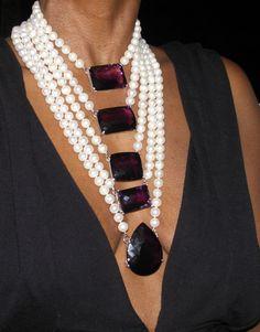 Huge 14k gold 5 strand 10-11mm cultured pearl &750+ ct Russian Amethyst necklace #EstateCustom #5strandnecklace