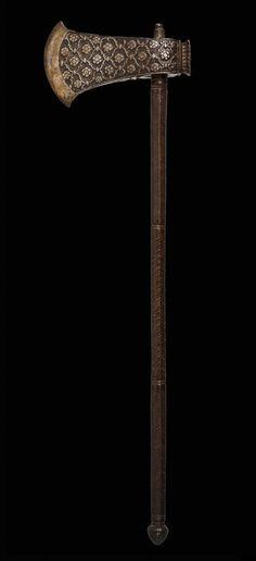 TABAR, Combat Saddle Axe - 18th century  Northern India  Iron ...Ogoun coming on strong suddenly.