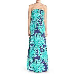 Lilly Pulitzer 'Marlisa' Print Pima Cotton Maxi Dress ($168) ❤ liked on Polyvore featuring dresses, bright navy tiger palm, print maxi dress, strapless maxi dress, bright blue dress, strapless dress and colorful maxi dress