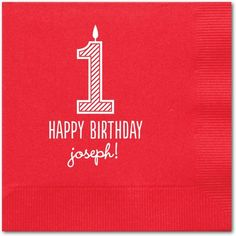 One Fun Candle - Personalized Napkins - Magnolia Press - Claret Napkin - Red | www.TinyPrints.com