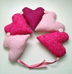 Hot Pink Hanging Hearts. $19.45, via Etsy.    SOLD    https://www.etsy.com/listing/120703426/hot-pink-hanging-hearts