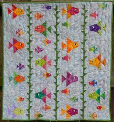 Beginner Quilt Patterns, Baby Quilt Patterns, Quilting For Beginners, Applique Patterns, Baby Boy Quilts, Girls Quilts, Fish Quilt Pattern, Summer Quilts, Toddler Quilt