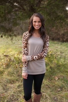 The Pink Lily Boutique - Taupe Animal Print Sleeve Blouse, $32.50 (http://www.thepinklilyboutique.com/taupe-animal-print-sleeve-blouse/)