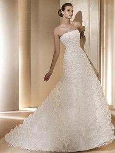 Wholesale Chic Trumpet / Mermaid One Shoulder Chapel Train Floor Length Organza White Wedding Dress