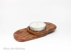 Tea-light holders / candle base / polymer clay handmade faux wood home decoration. © Mini Art Gallery
