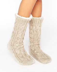 ASOS | ASOS Cable Faux Fur Lined Slipper Sock