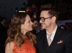 """Susan Downey and Robert Downey Jr. at the premiere of """"Iron Man 3,"""" Hollywood, 2013."""
