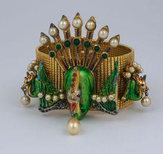 Rare DeRosa 1940's Peacock Cuff
