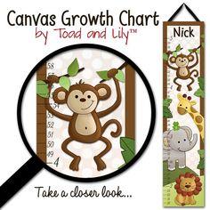 Canvas GROWTH CHART Jungle Safari Animals in Brown Babies Bedroom Baby Nursery Wall Art