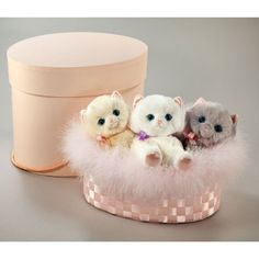 Lillian - Giselle & Sasha Classic Set of Three Faux Fur Kittens in Decorative Hat Box from PoshTots