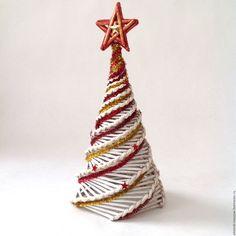 Купить Интерьерная елка - ярко-красный, белый, красный, золотой, елка, Новый Год, звезда
