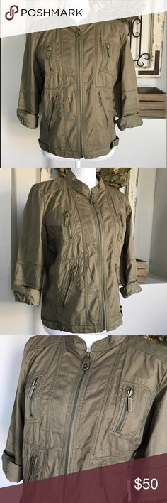 "Michael Kors Army Green Utility Jacket Michael Kors Army Green Utility Jacket - Size 10. (I would say this would fit a larger medium/ large) Great Used condition. Measures about 23"" long, 18"" armpit- armpit. Michael Kors Jackets & Coats Utility Jackets"