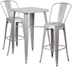 Flash Furniture CH-31330B-2-30GB-SIL-GG 23.75'' Square Silver Metal Indoor-Outdoor Bar Table Set with 2 Barstools