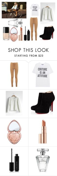 """""""Sabrina Carpenter"""" by ketrin-maknamara ❤ liked on Polyvore featuring Boohoo, Moschino, Chicwish, Christian Louboutin, Too Faced Cosmetics, Estée Lauder, Marc Jacobs, Avon, cute and classy"""