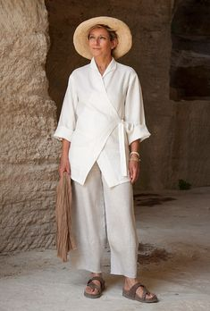 AMALTHEE CREATIONS | Thick ecru linen breasted jacket 'Kimo' with oatmeal linen trousers. | From: amalthee-creations.com