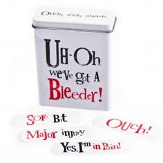 - The Bright Side Plaster Tin Uhoh Weve Got A Bleeder from Sands Cookware - check out our range of The Bright Side Plaster Tin Uhoh Weve Got A Bleeder in our selections of giftware, cookware and jewellery. Quirky Gifts, Band Aid, Beautiful Gifts, Plaster, Tin, Health And Beauty, Bright, Mugs, Sands