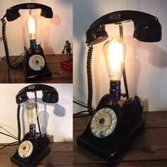 Lampe recup avec le téléphone noir ancien en Bakélite a cadran : Luminaires par lampesoriginales #LampRecup