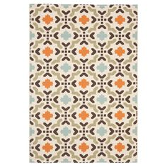 "Corbyn Indoor/Outdoor Rug - Cream (Ivory) / Terracotta - 6'-7"" X 9'-6"" - Safavieh"