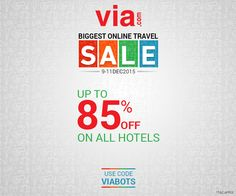 Save more on hotel booking! Up to 85% off* on all #Hotels ! Use code VIABOTS. 3 days left! Book via http://bit.ly/bots_hotels
