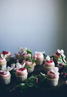 Sour cream rhubarb cupcakes with ginger cream cheese frosting & poached rhubarb