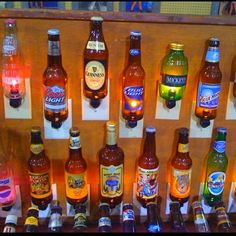 Beer bottle nightlights, great for the man cave or garage Beer Bottle Lights, Wine Bottle Art, Beer Bottles, Bottle Caps, Glass Bottles, Whiskey Bottle, Beer Bottle Crafts, Craft Beer, Beer Crafts