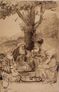 Rembrandt Harmensz. van Rijn    Four Seated Orientals Beneath a Tree    Netherlands (1654-56)    Pen and brown ink with brown and grey wash, touched with white, on Japanese paper.      British Museum, London